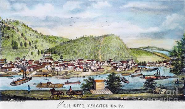 Photograph - Petroleum: Oil City, 1864 by Granger