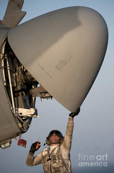 Prowler Photograph - Petty Officer Inspects The Radar Of An by Stocktrek Images