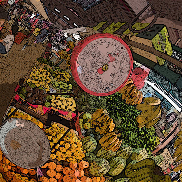 Painting - Philippines 2100 Food Market With Scale by Rolf Bertram