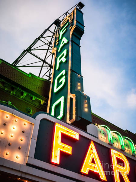 North Dakota Photograph - Photo Of Fargo Theater Marquee Sign At Night by Paul Velgos