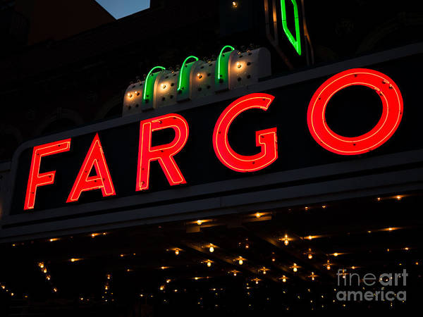 North Dakota Photograph - Photo Of Fargo Theater Sign At Night by Paul Velgos