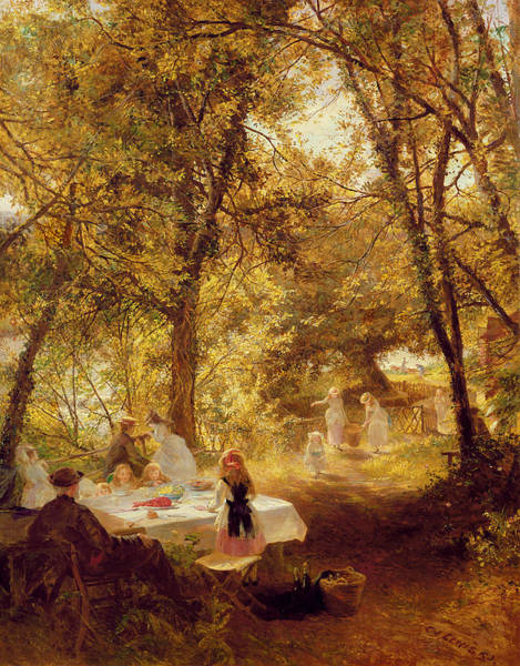 Picnic Basket Wall Art - Painting - Picnic by Charles James Lewis