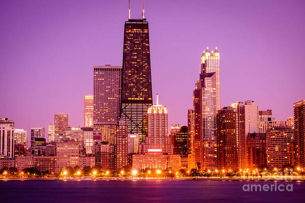 Picture Of Chicago Skyline By Night Art Print