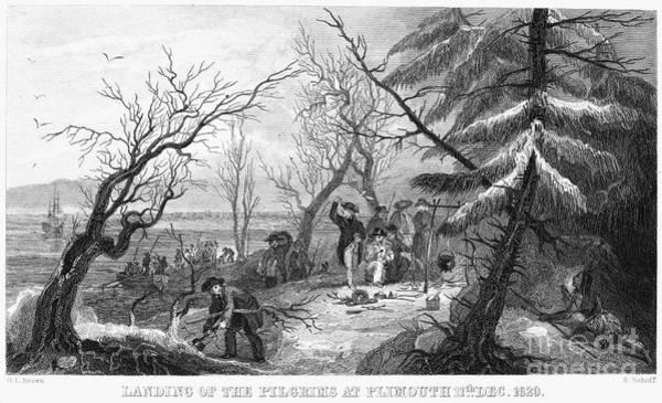 Plymouth Rock Photograph - Pilgrims Landing, 1620 by Granger
