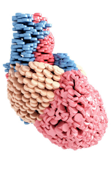 Vertical Digital Art - Pills Heart by MedicalRF.com