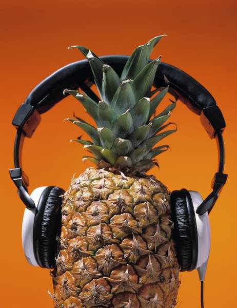 Fruit Wall Art - Photograph - Pineapple Wearing Headphones by Philip Haynes
