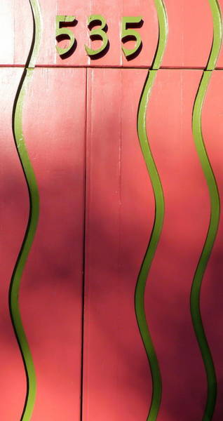 Photograph - Pink Door Green Lines by Jeff Lowe