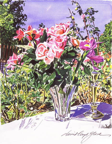 Painting - Pink Roses In Crystal Vase by David Lloyd Glover