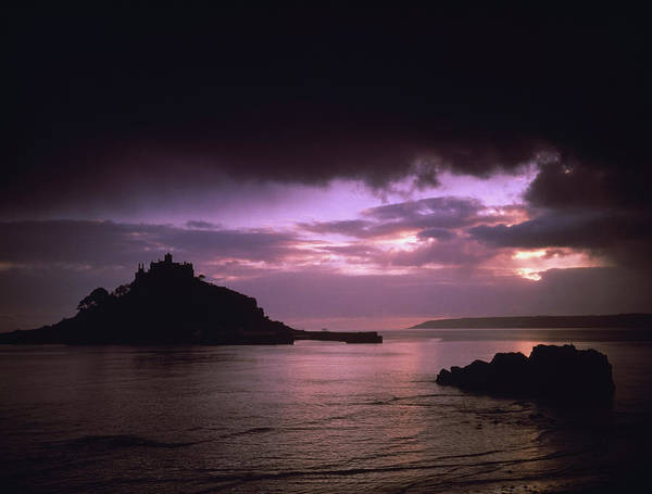 Penwith Photograph - Pink Sky Over St. Michaels Mount by Axiom Photographic
