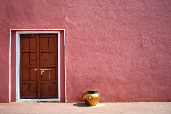 Door Photograph - Pink Wall And The Door by Saptak Ganguly