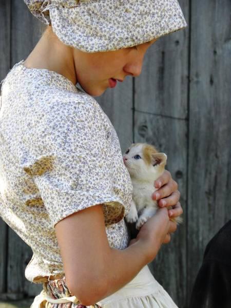 Pioneer Girl With Kitten Art Print