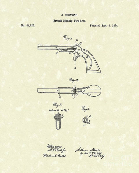1864 Wall Art - Drawing - Pistol 1864 Patent Art  by Prior Art Design