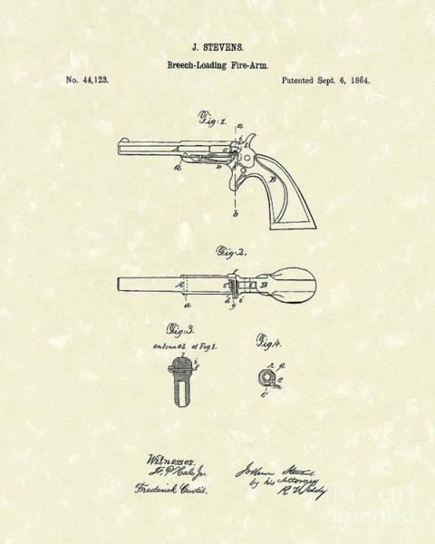 Drawing - Pistol 1864 Patent Art  by Prior Art Design