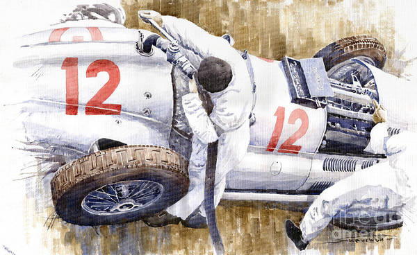 Autosport Wall Art - Painting - Pit Stop German Gp 1939 Mercedes Benz W154 Rudolf Caracciola by Yuriy Shevchuk