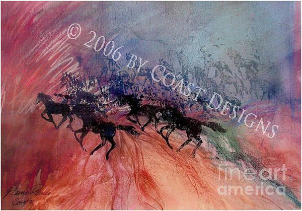 Oregon Coast Mixed Media - Plains Ponies by Barbara Coast