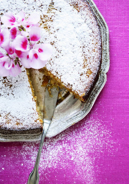 Vertical Line Photograph - Plate Of Nut Cake With Flowers by Cultura/Line Klein