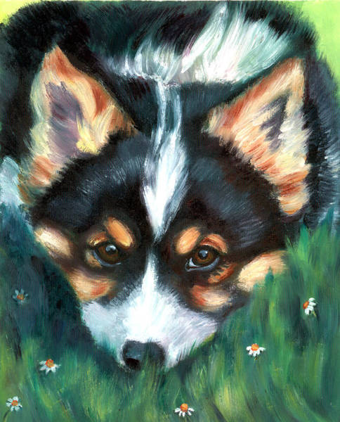 Wall Art - Painting - Playful Pup - Pembroke Welsh Corgi by Lyn Cook