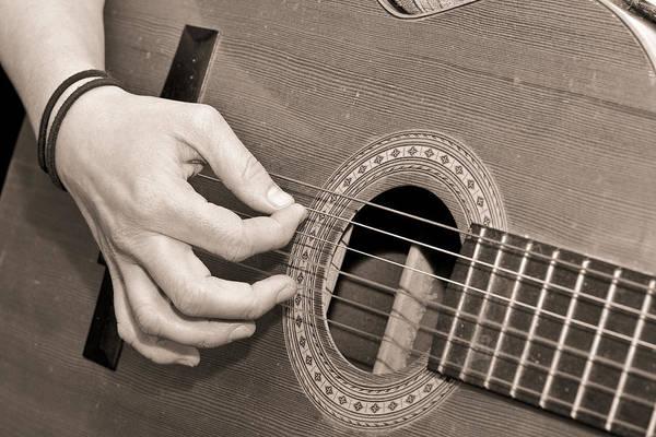 Bass Player Wall Art - Photograph - Playing Guitar by Tom Gowanlock