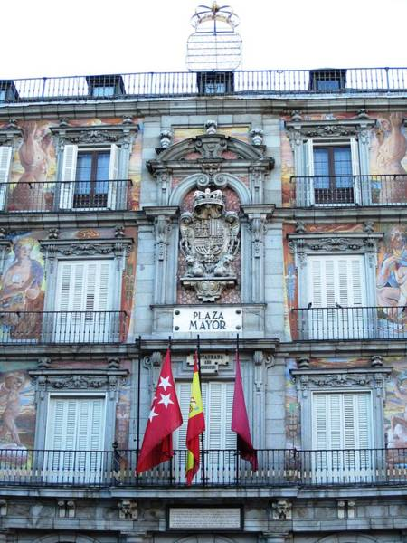 Photograph - Plaza Mayor Interior Architecture Building With Spanish Flag In Madrid Spain by John Shiron
