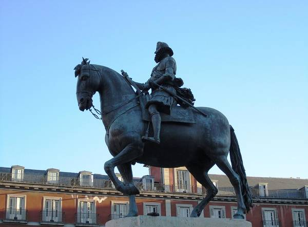 Photograph - Plaza Mayor Statue Of King Philip IIi Horseman Close Up In Madrid Spain by John Shiron