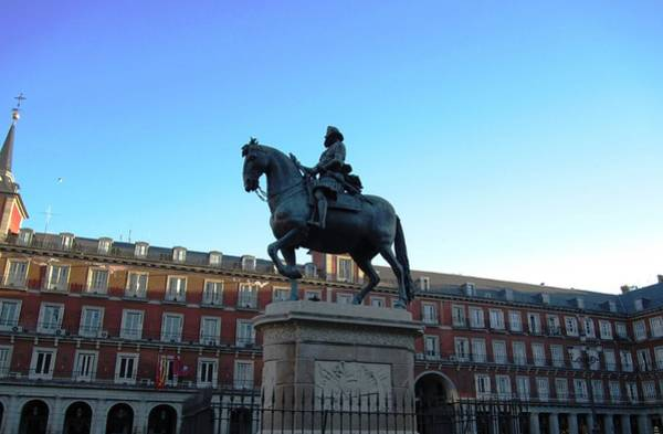 Photograph - Plaza Mayor Statue Of King Philip IIi Horseman In Madrid Spain by John Shiron