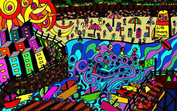 Wall Art - Drawing - Point Cartwright Meets Mooloolaba by Karen Elzinga