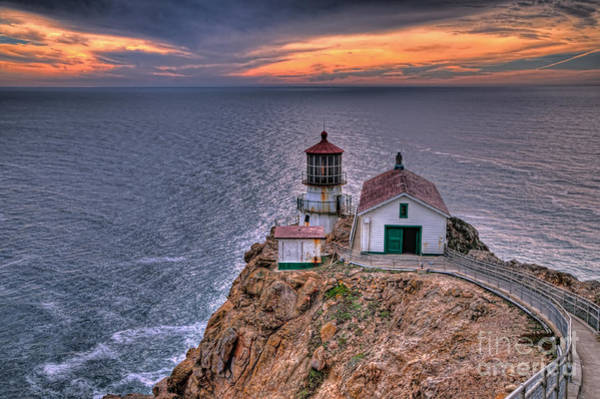Wall Art - Photograph - Point Reyes Lighthouse At Sunset by Eddie Yerkish