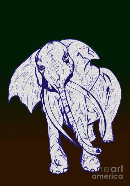 Drawing - Pointillism Elephant by Mary Mikawoz