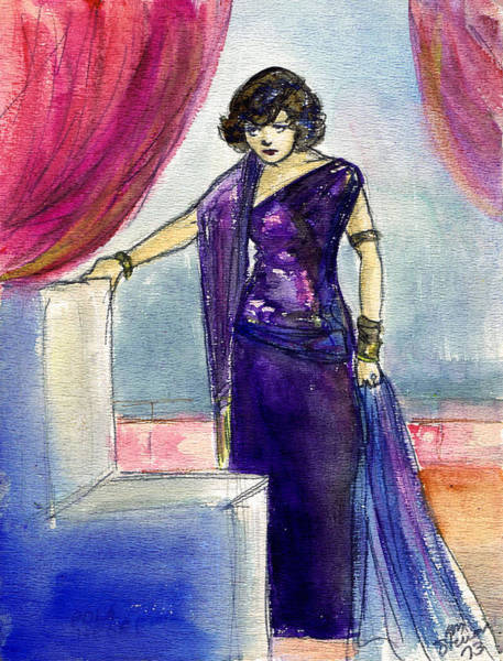 Flappers Drawing - Pola Negri by Mel Thompson
