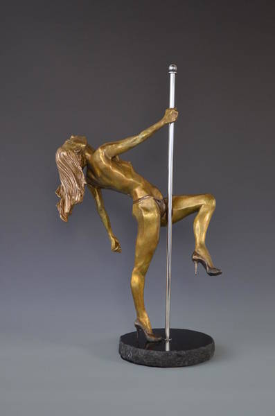 Transfix Wall Art - Sculpture - Poledancer by David Varnau