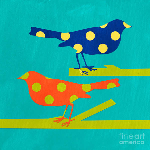 Yellow Bird Wall Art - Mixed Media - Polka Dot Birds by Linda Woods