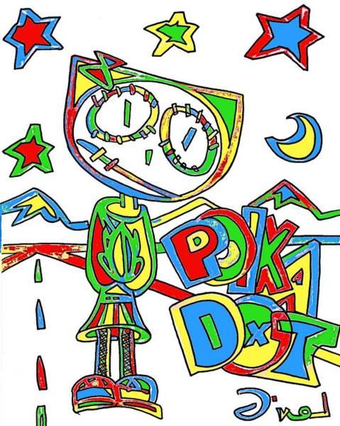 Neon Lights Mixed Media - Polka Dot The Cartoon Kitty by Levi Glassrock