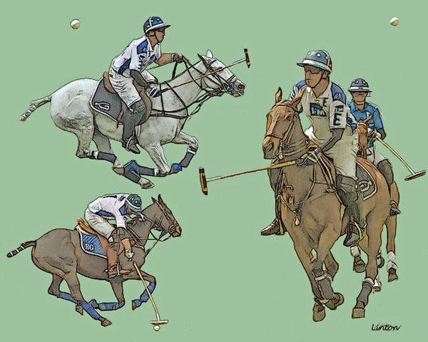 Digital Art - Polo Montage Sketch by Larry Linton