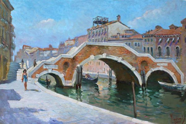 Wall Art - Painting - Ponte Di Tre Archi Venice by Ylli Haruni
