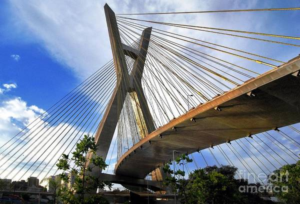 Ponte Estaiada Octavio Frias De Oliveira Ao Cair Da Tarde Art Print