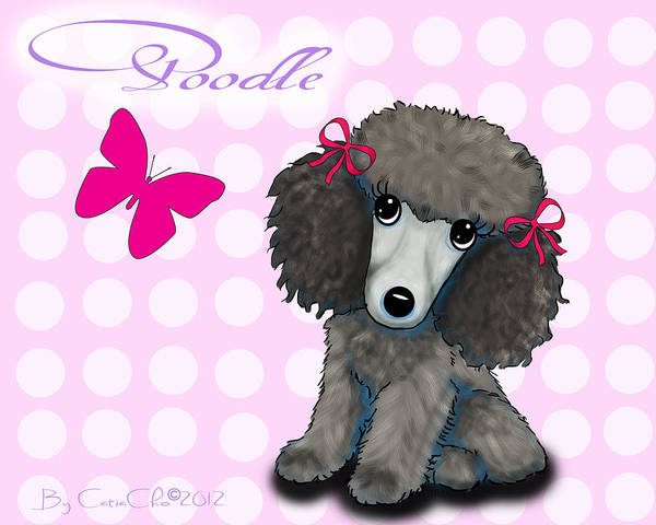 Mixed Media - Poodle Cartoon by Catia Lee