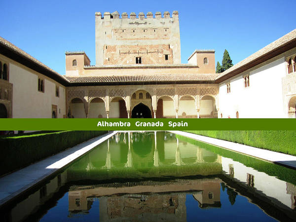 Photograph - Pool Reflection IIi Ancient Architecture Alhambra Granada Spain by John Shiron