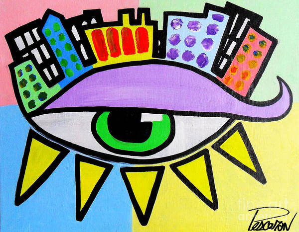 Pop City Eye Art Print by John Pescoran