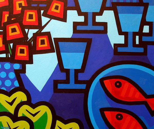 Wall Art - Painting - Poppies Apples Wine And Fish by John  Nolan