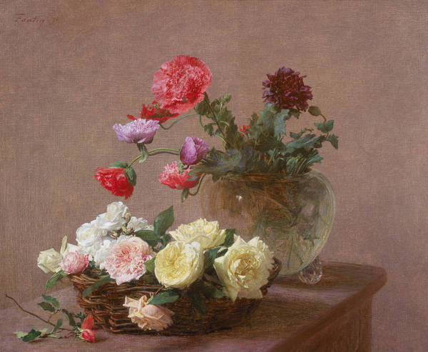 Glass Cutting Painting - Poppies In A Crystal Vase - Or Basket Of Roses by Ignace Henri Jean Fantin-Latour