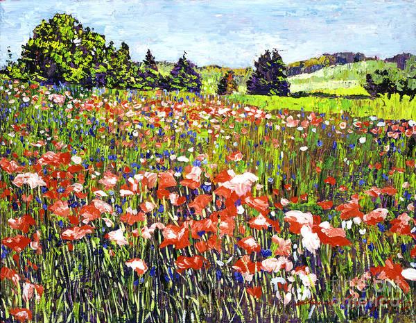Painting - Poppy Fields In France by David Lloyd Glover