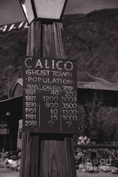 Photograph - Population Of Calico California by Susanne Van Hulst