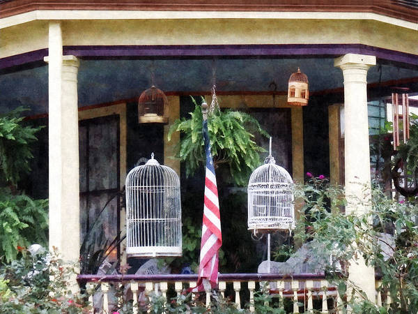 Photograph - Porch With Bird Cages by Susan Savad