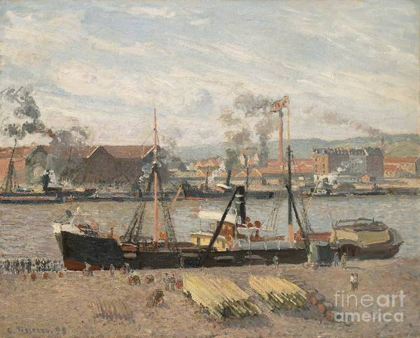 Oil Industry Painting - Port Of Rouen by Camille Pissarro