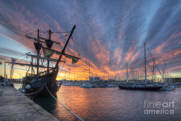 Photograph - Port Vell Sunrise - Barcelona by Yhun Suarez