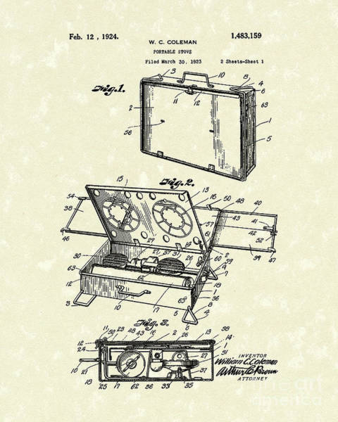 Wall Art - Drawing - Portable Stove 1924 Patent Art by Prior Art Design