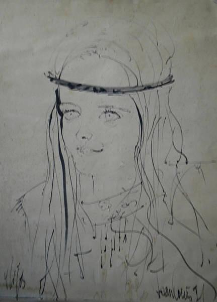 Drawing - Portrait 1971 Colette by Colette V Hera  Guggenheim