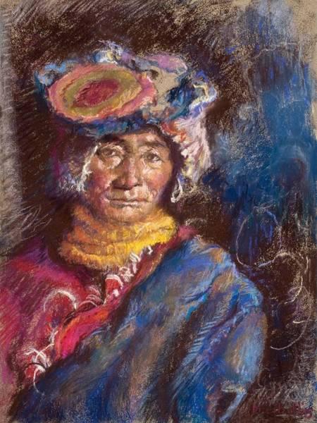 Pastel - Portrait Of A Tibetan Woman by Ellen Dreibelbis