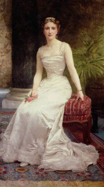 Vase Of Flowers Painting - Portrait Of Madame Olry-roederer by William-Adolphe Bouguereau