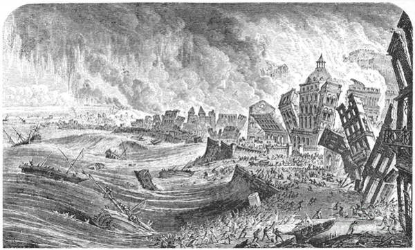 1755 Photograph - Portugal Earthquake, 1755 by Granger